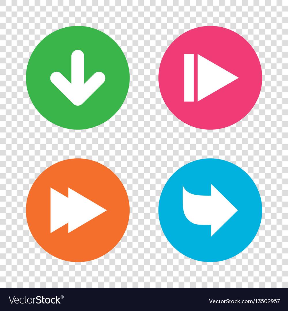 Arrow icons next navigation signs symbols