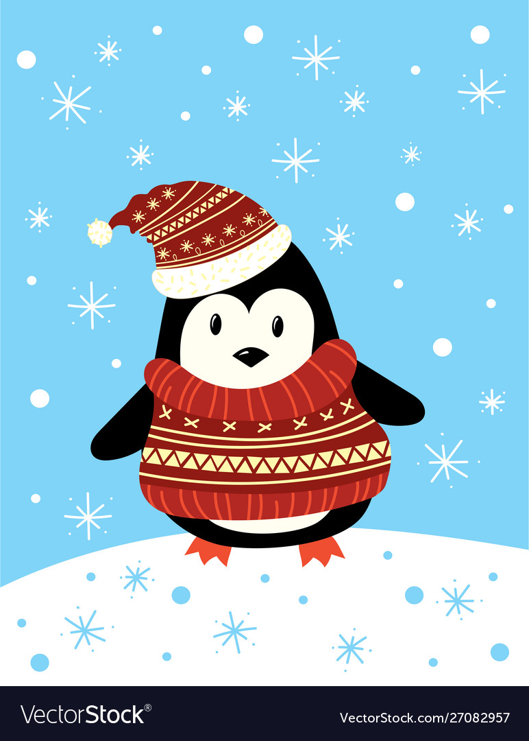 Christmas a penguin in a hat and