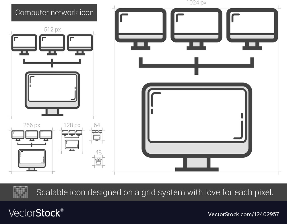 Computer network line icon