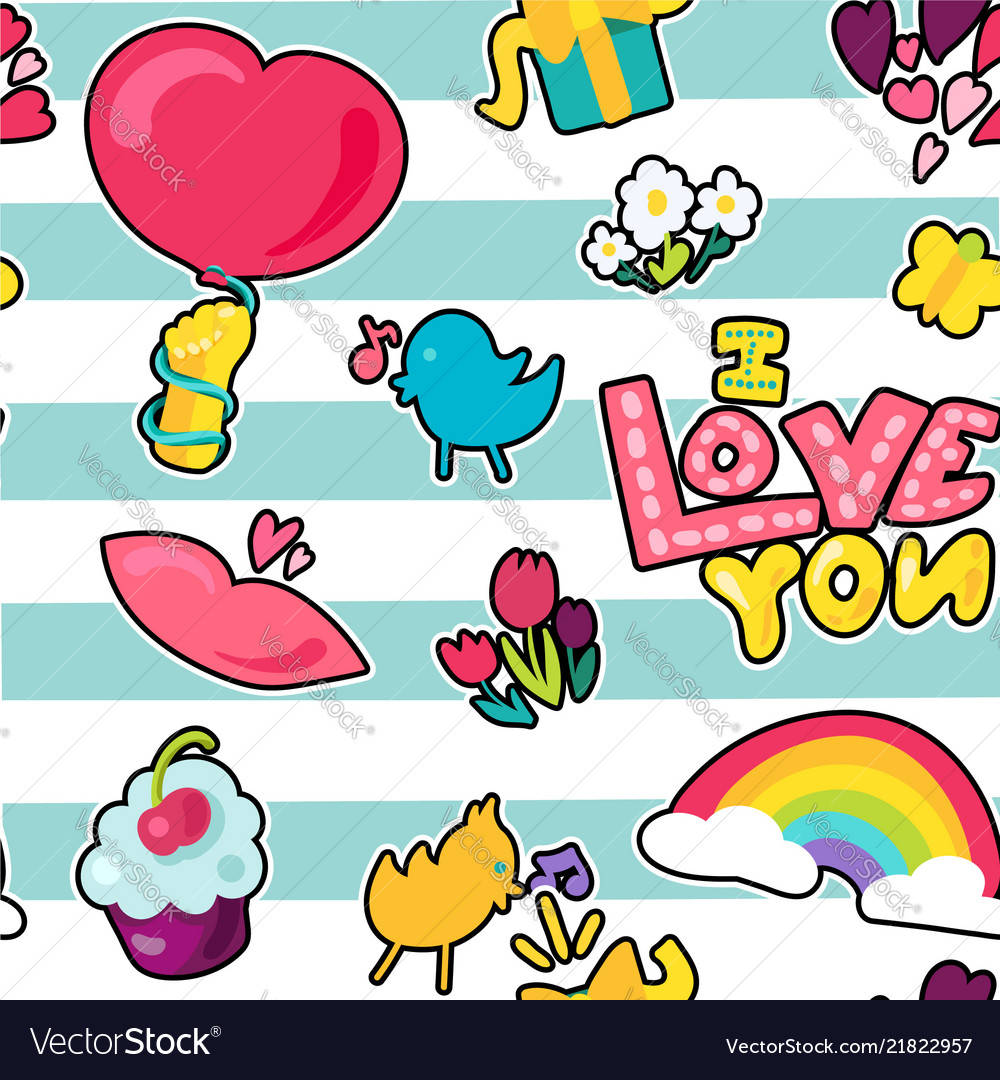 Romantic love seamless pattern