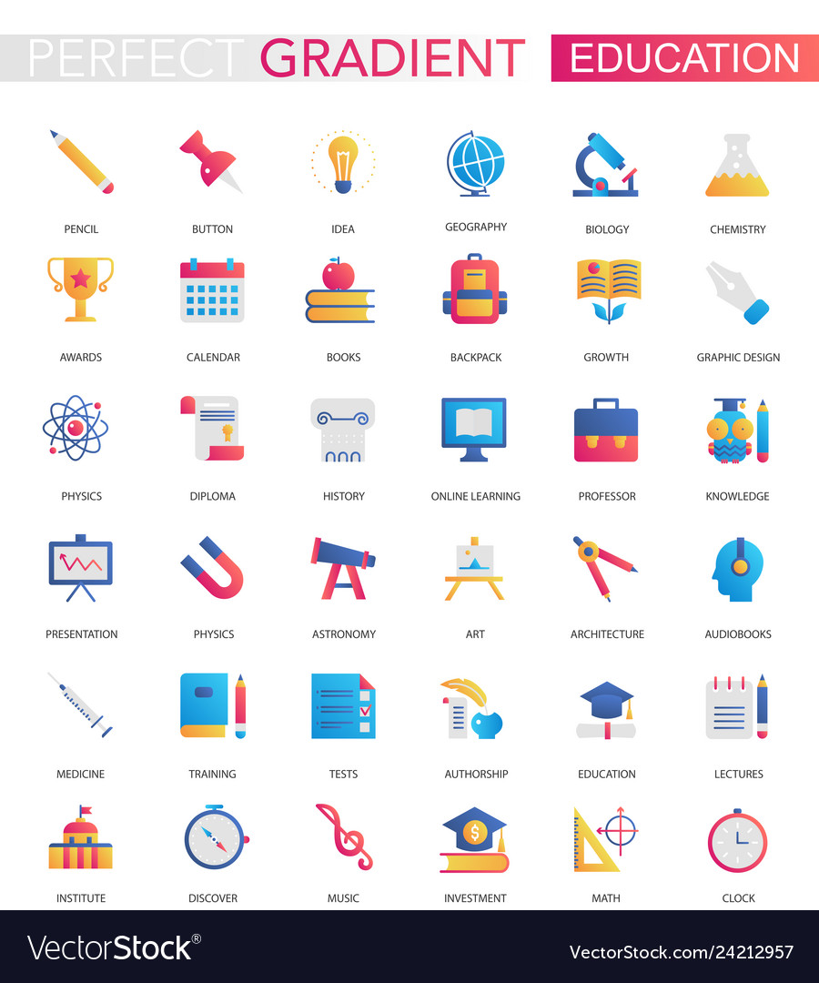 Set of trendy flat gradient education icons