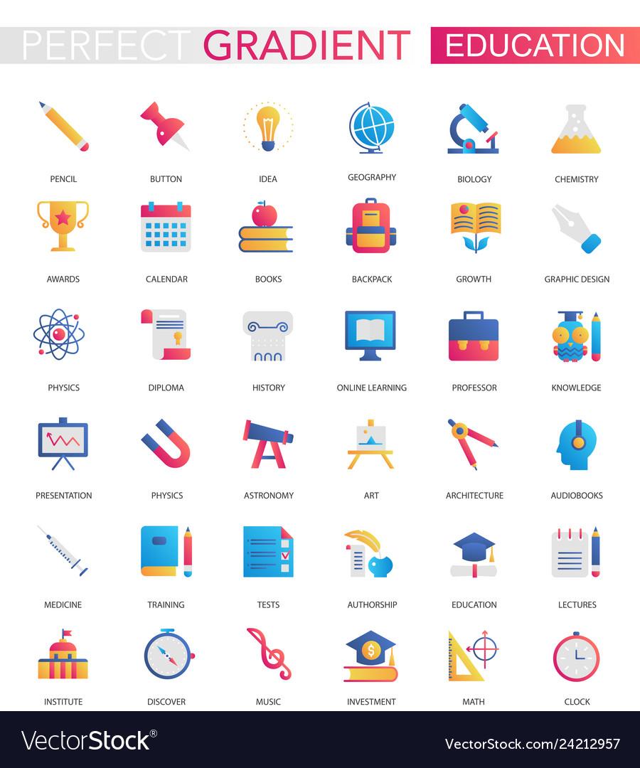 Set trendy flat gradient education icons