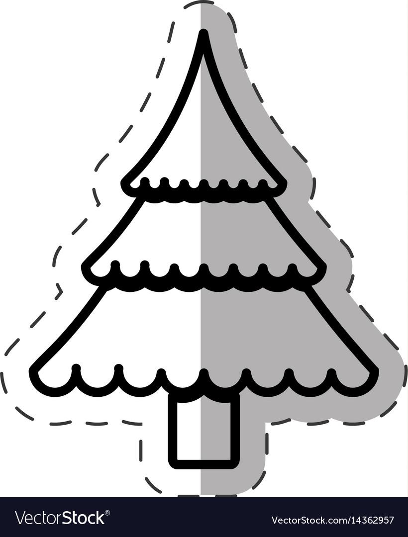 Tree pine christmas cut line