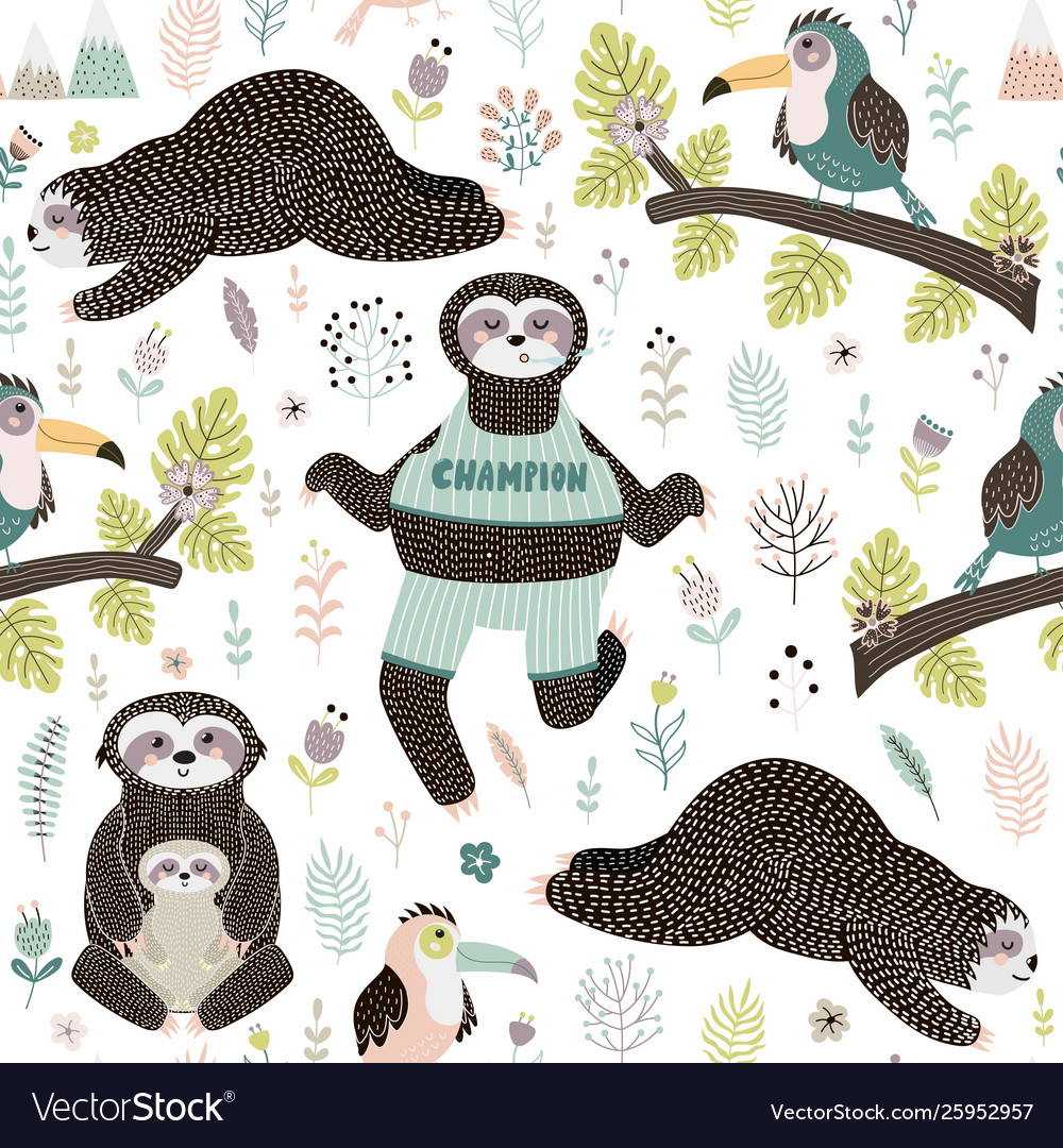 Tropical seamless pattern with sloths and bird
