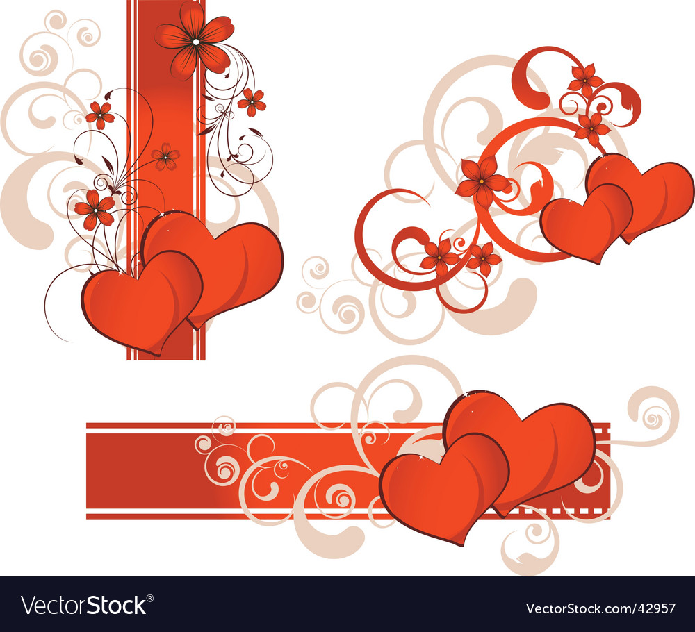 Valentines Day Banner Set Royalty Free Vector Image
