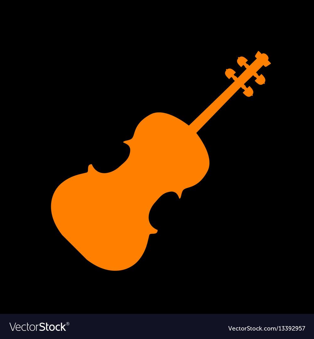 Violine sign orange icon on black