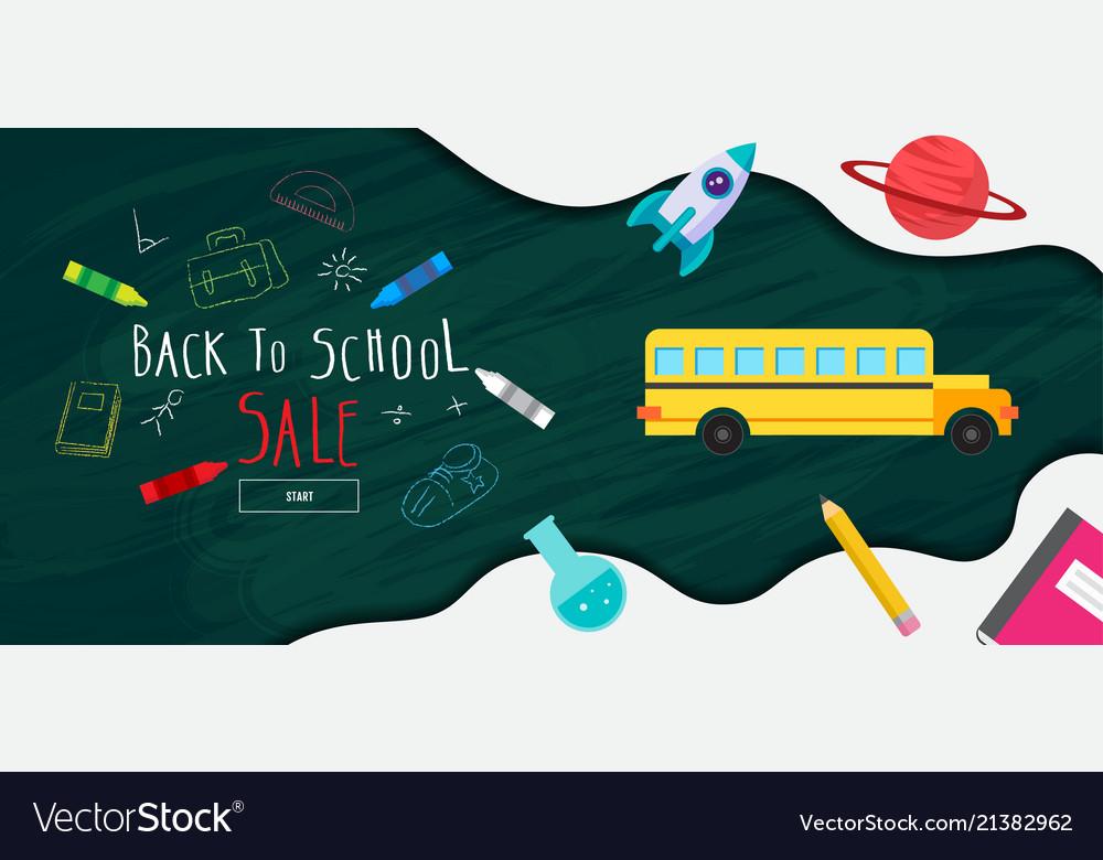 Back to school sale banner poster flat design