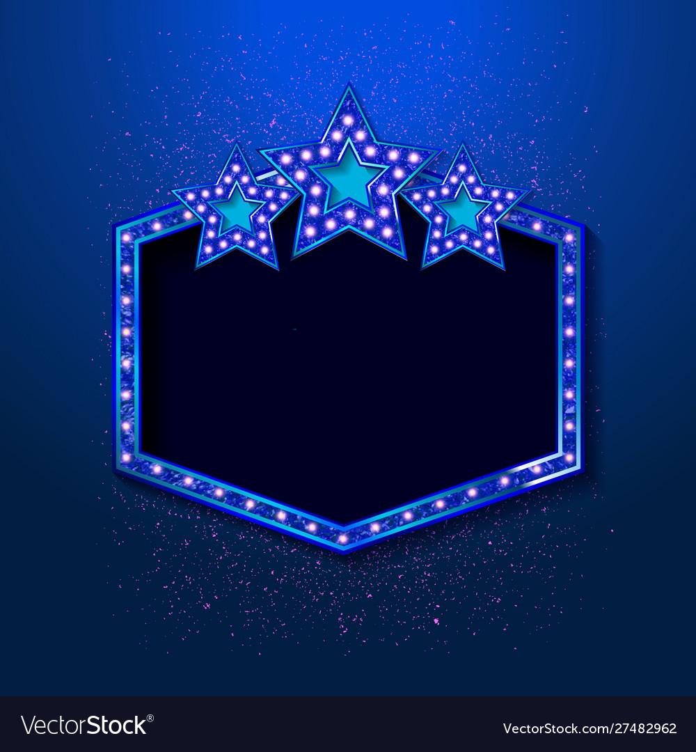 Blue shining retro light banner