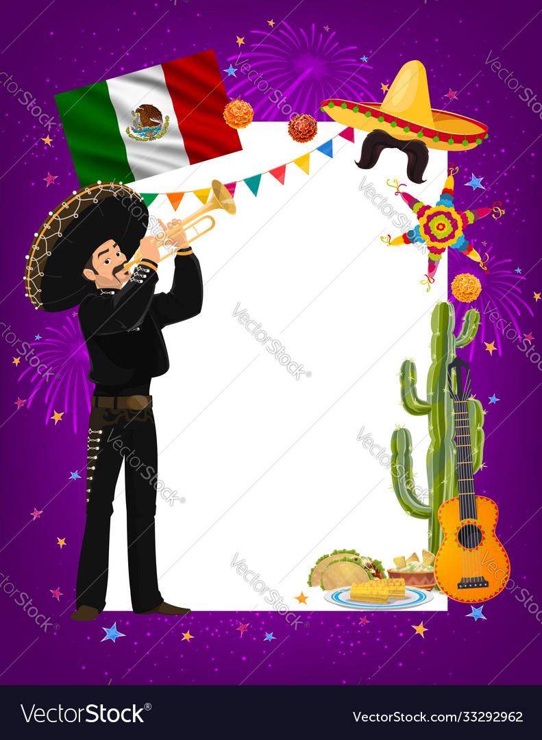 Cinco de mayo frame with mariachi artist