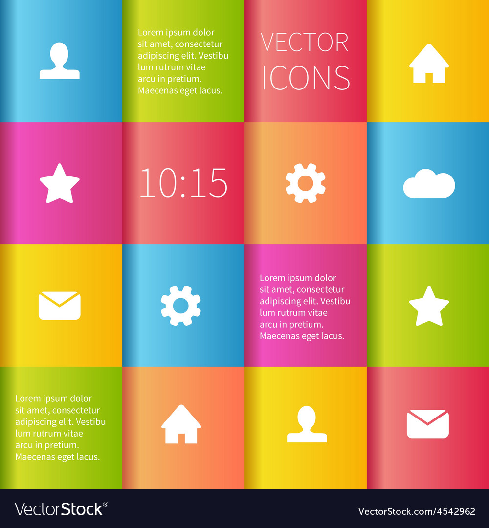 Colourful boxes ui design vector image