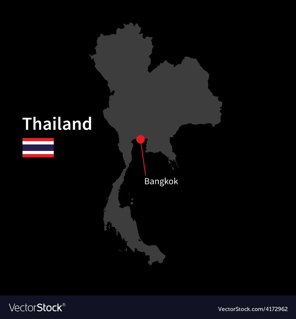 Detailed map of Thailand and capital city Bangkok Vector Image