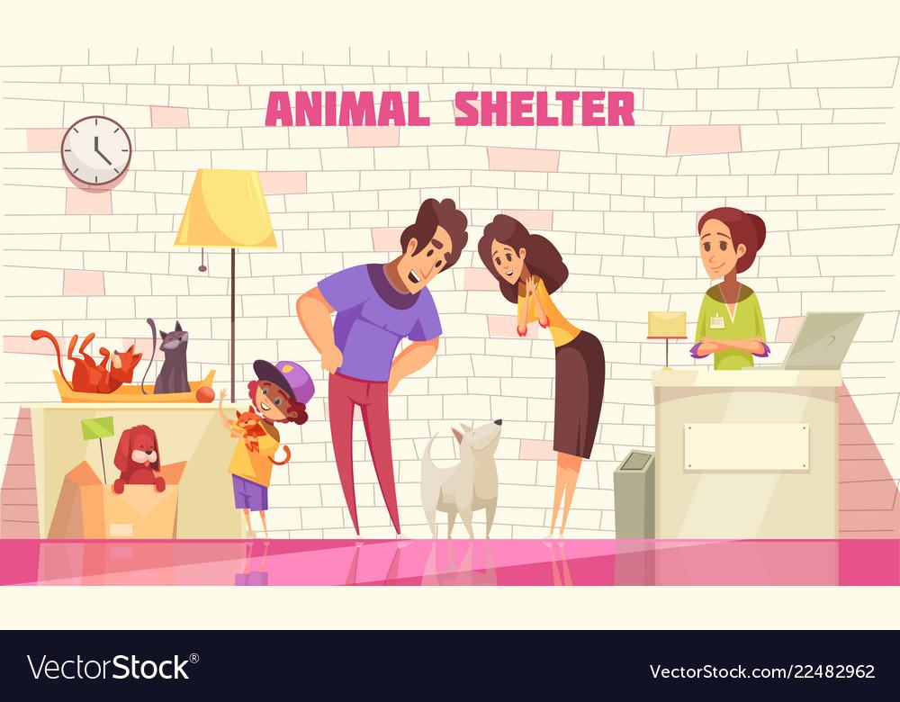 Family adopting dog from animal shelter