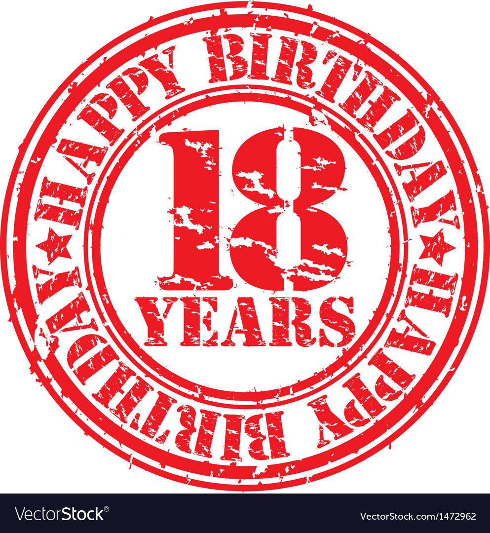 Grunge 18 years happy birthday rubber stamp