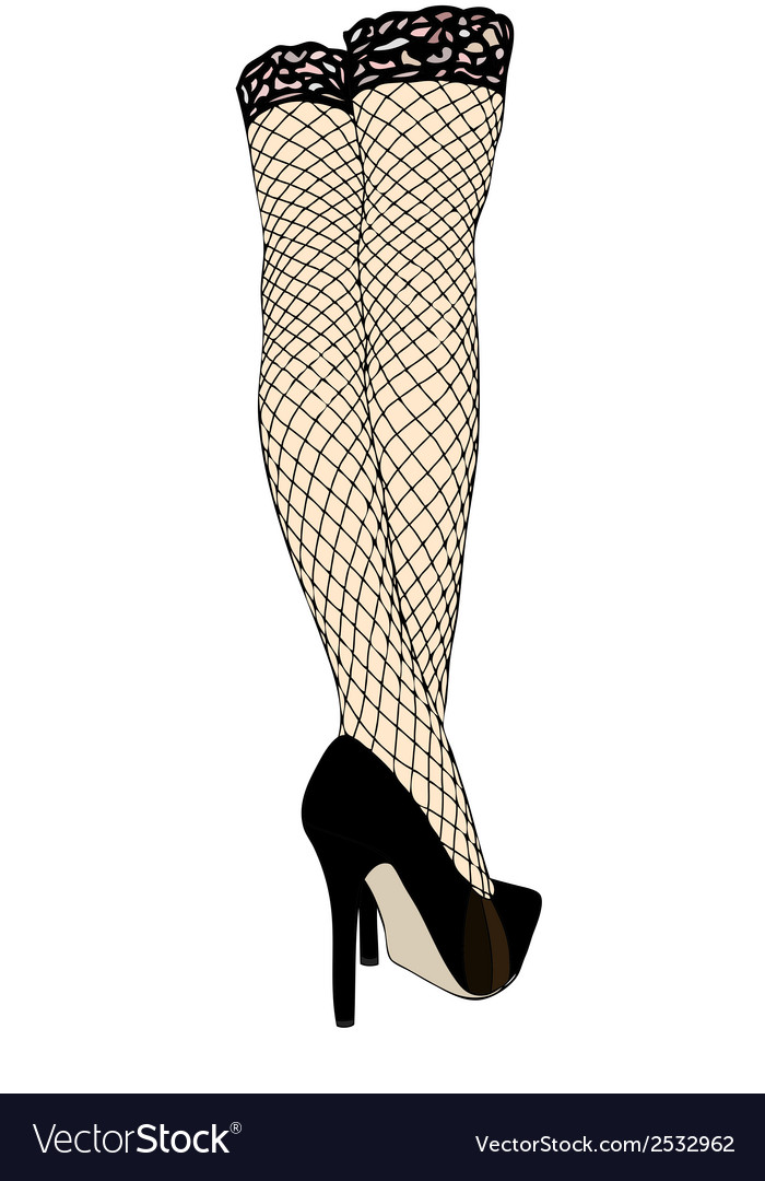Legs with fishnet stockings vector image