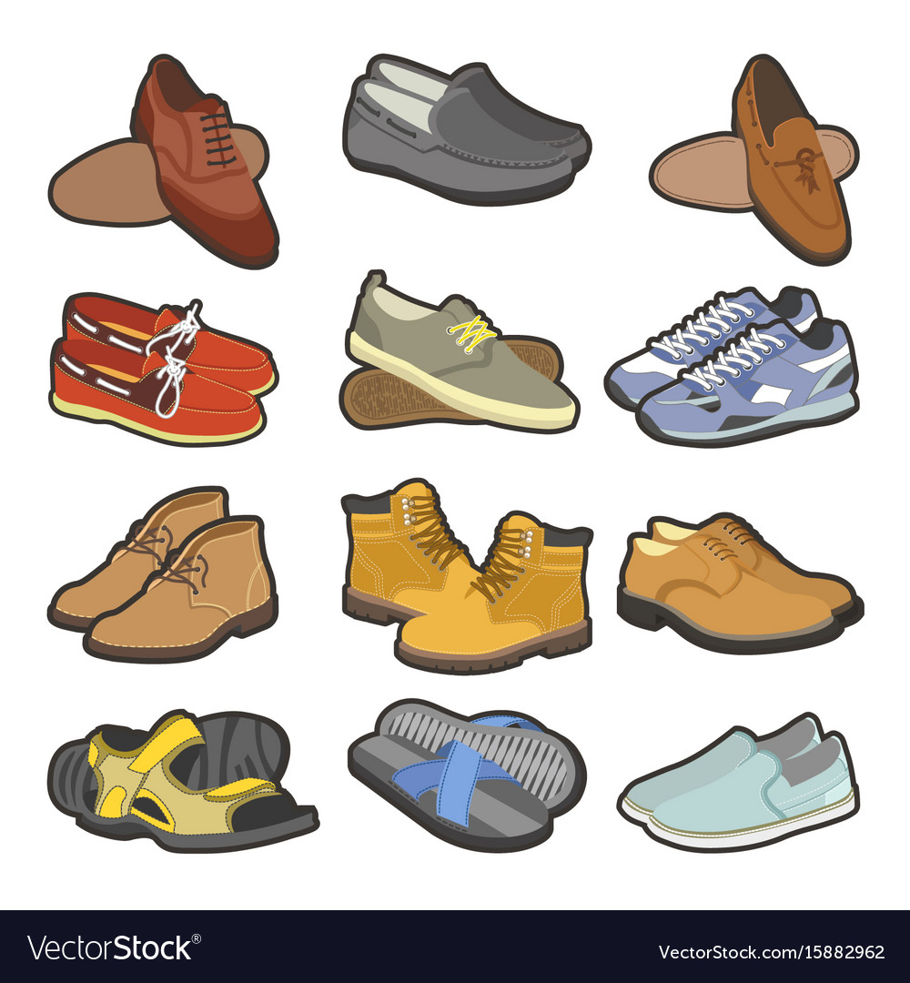 d7bb71b82e Men shoes boots types flat isolated icons Vector Image