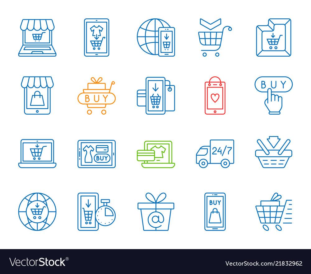 Online shop simple color line icons set