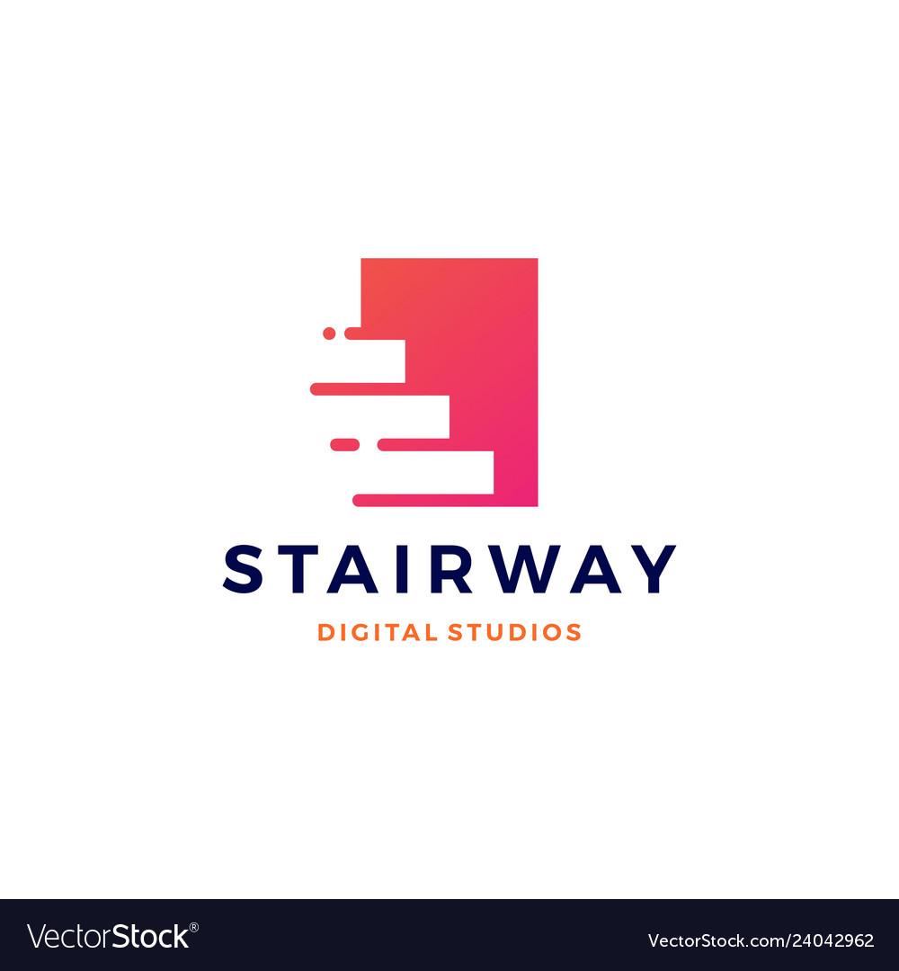 Stairway digital tech upstair logo icon