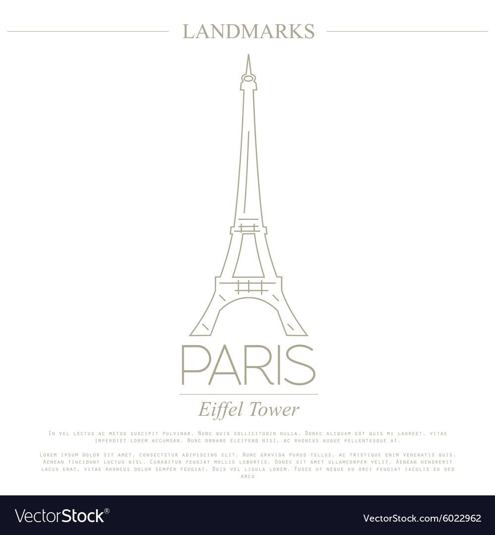 World landmarks Paris France Eiffel tower Graphic