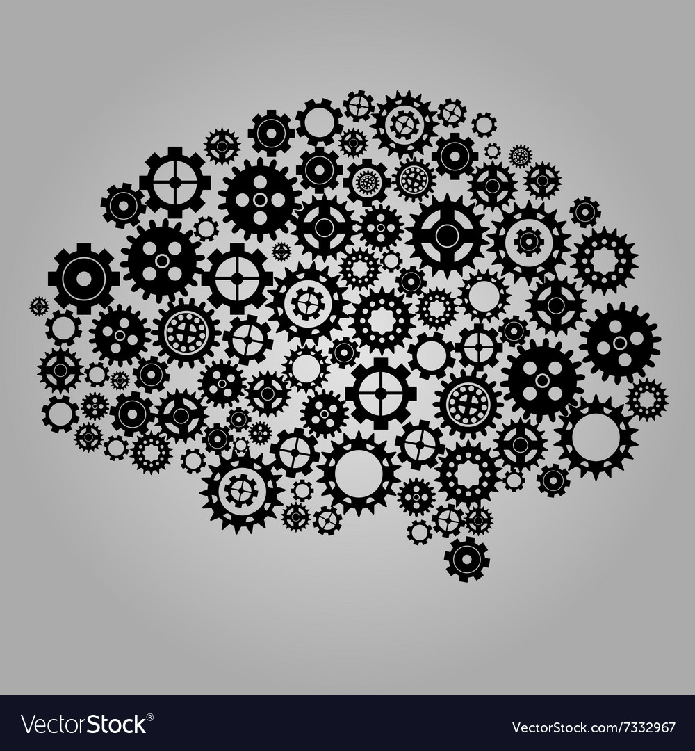 Black cogs gears on gray background vector image
