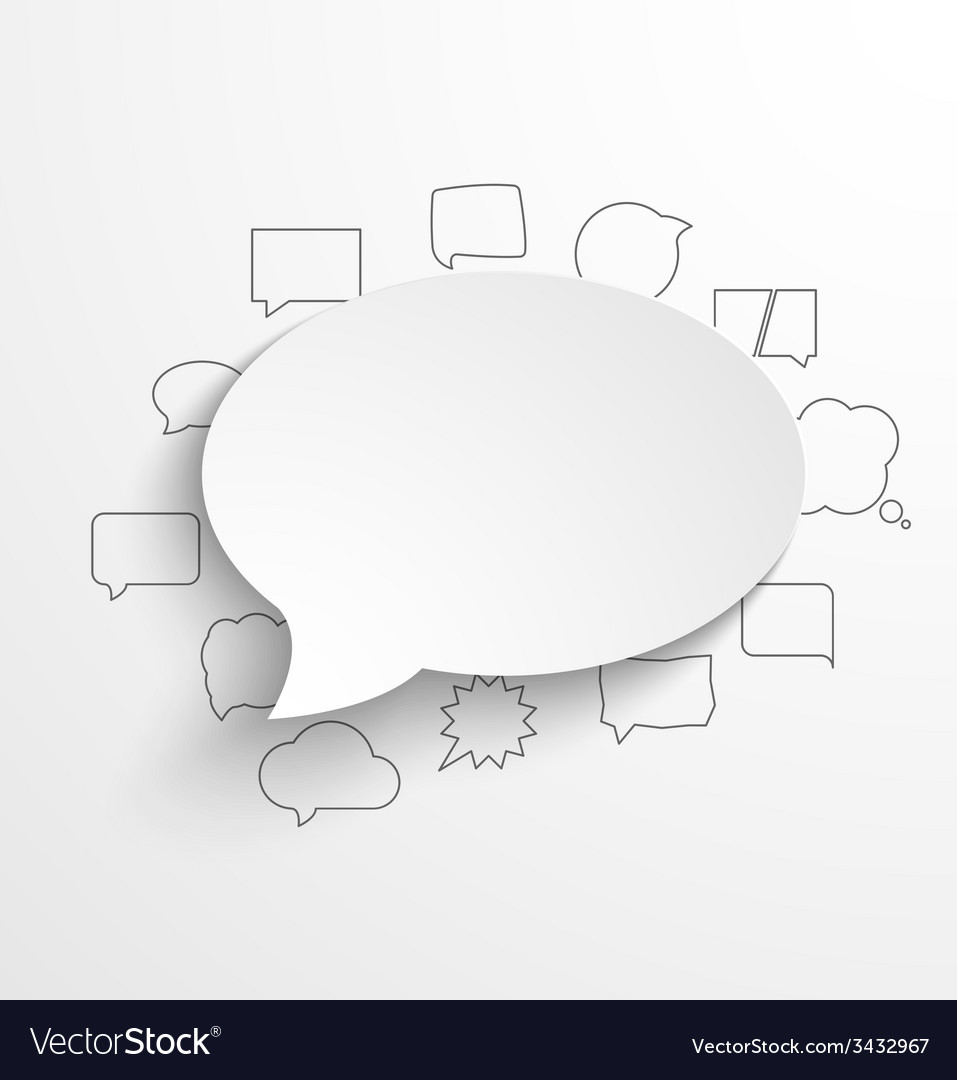 Blank white paper speech bubble with shadow and
