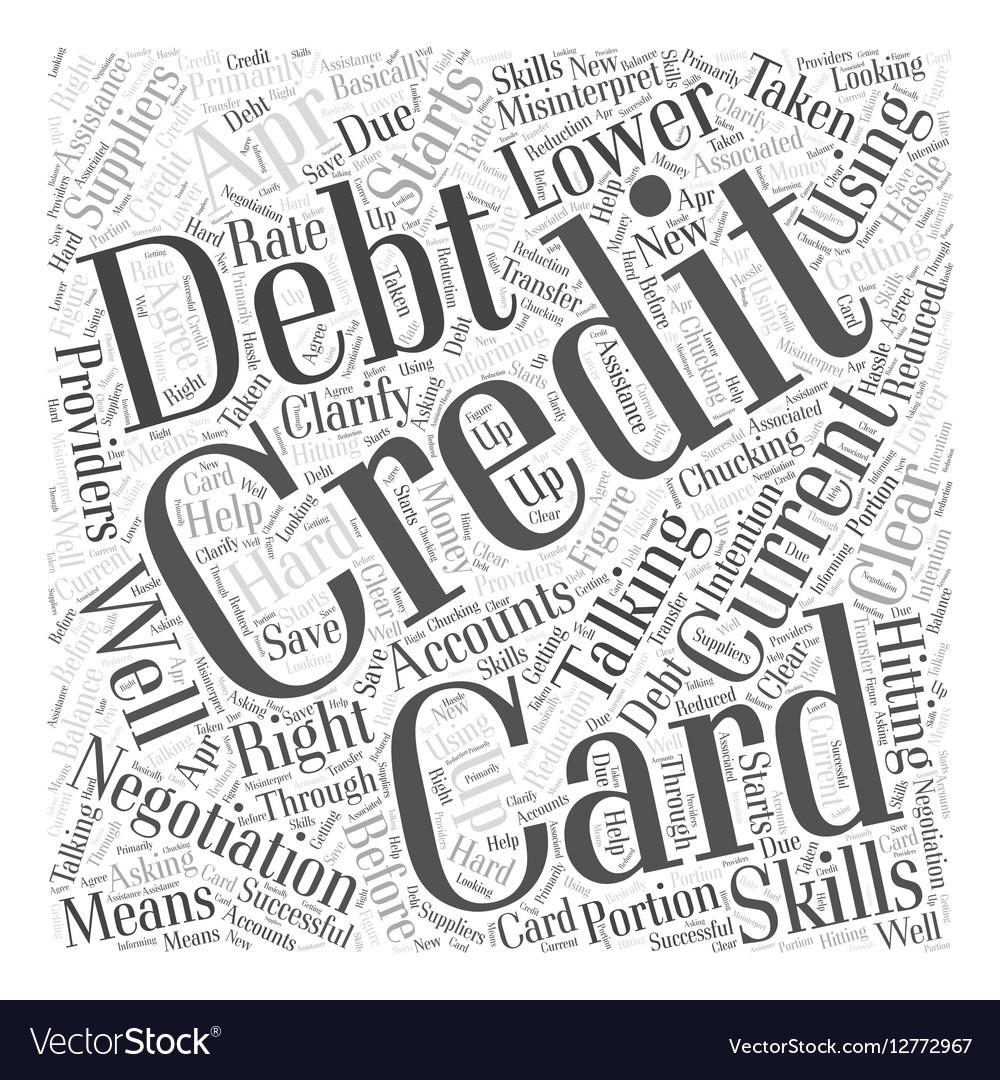 Credit Card Debt Negotiation Word Cloud Concept vector image