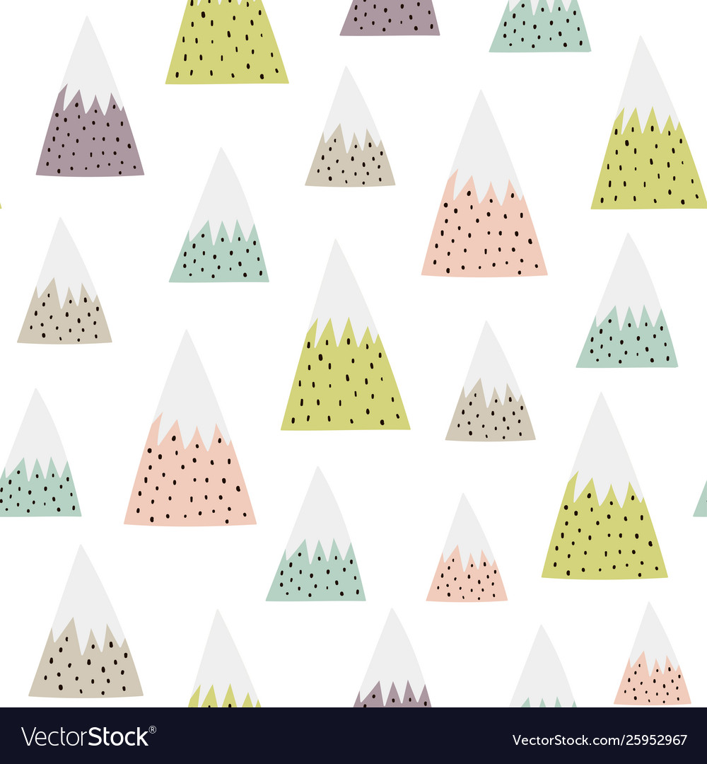 Cute snowy mountains seamless pattern