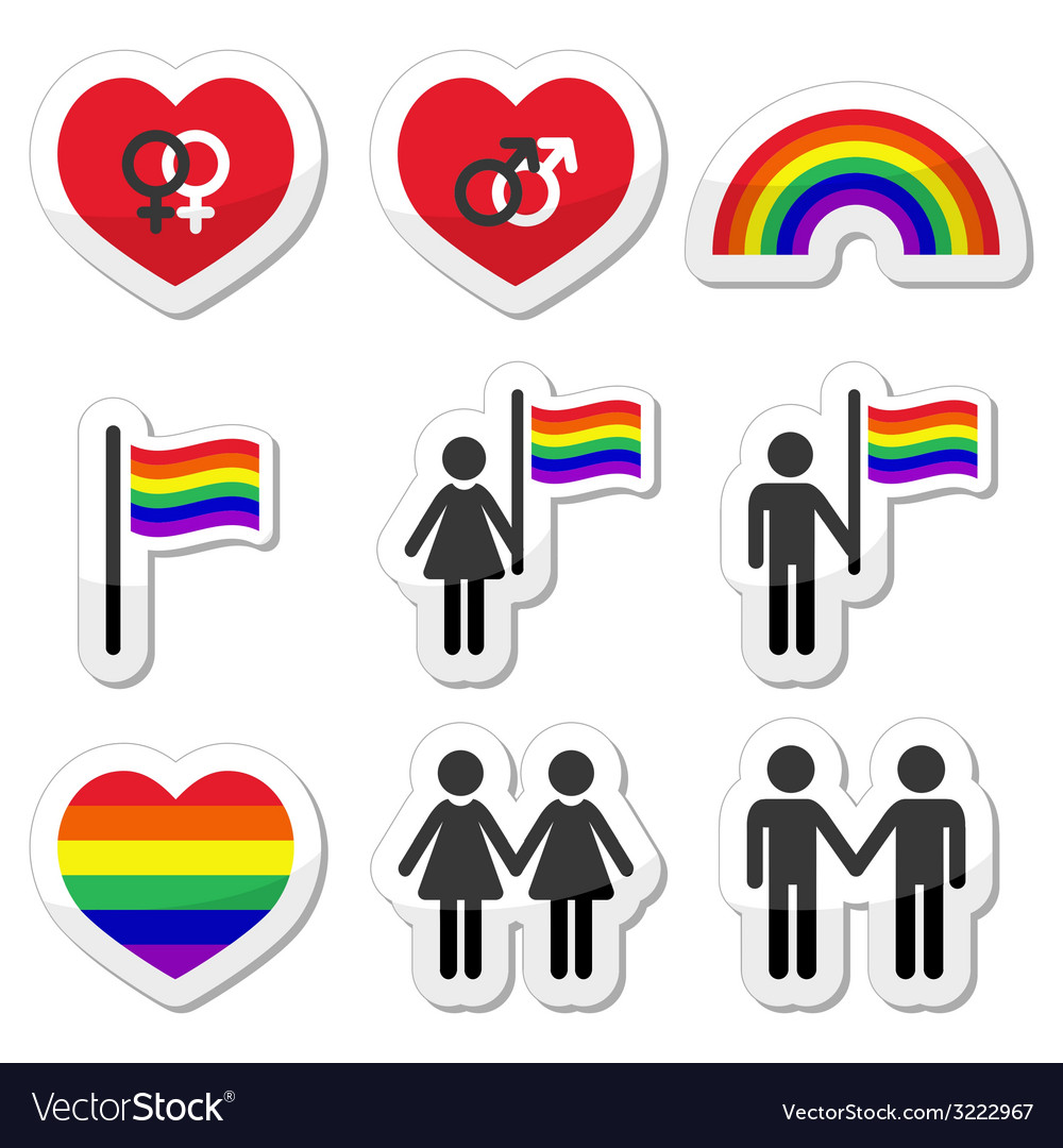Gay and lesbian couples rainbow icons set