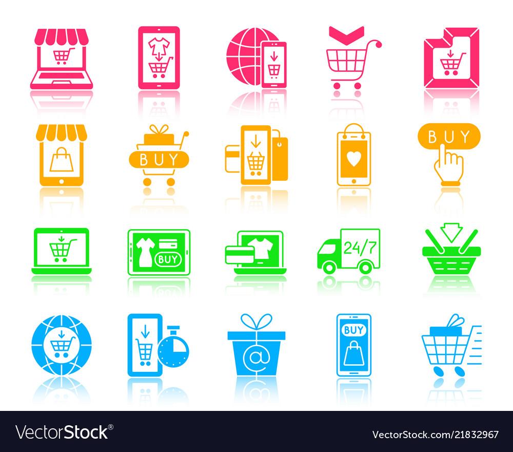 Online shop color silhouette icons set
