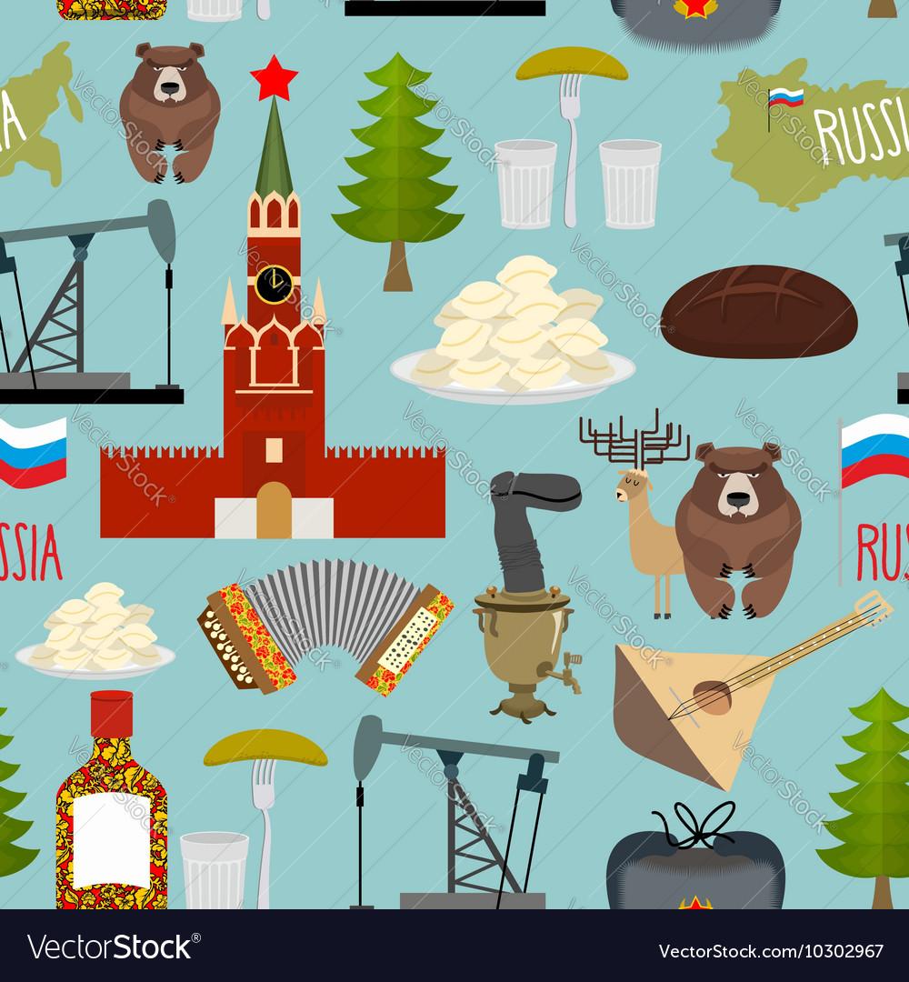 Russia sightseeing seamless pattern Moscow Kremlin