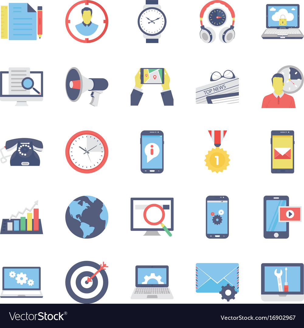 Seo and marketing flat colored icons 2