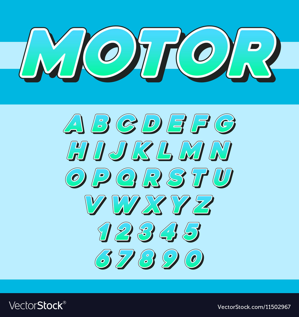 Speed Racing Sport Italic Font with Letters and