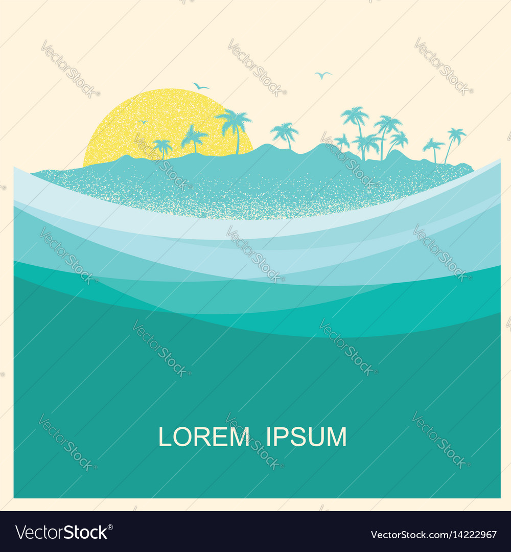 Tropical island with palms vintage style poster