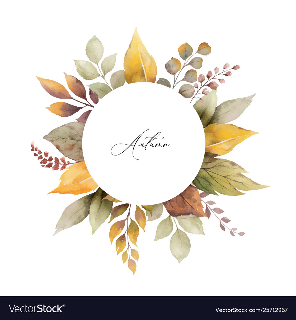 Watercolor autumn frame with leaves and