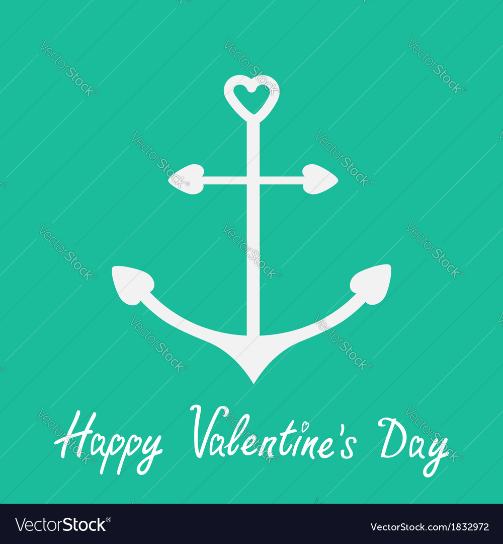 Anchor with shapes of heart Happy Valentines Day vector image
