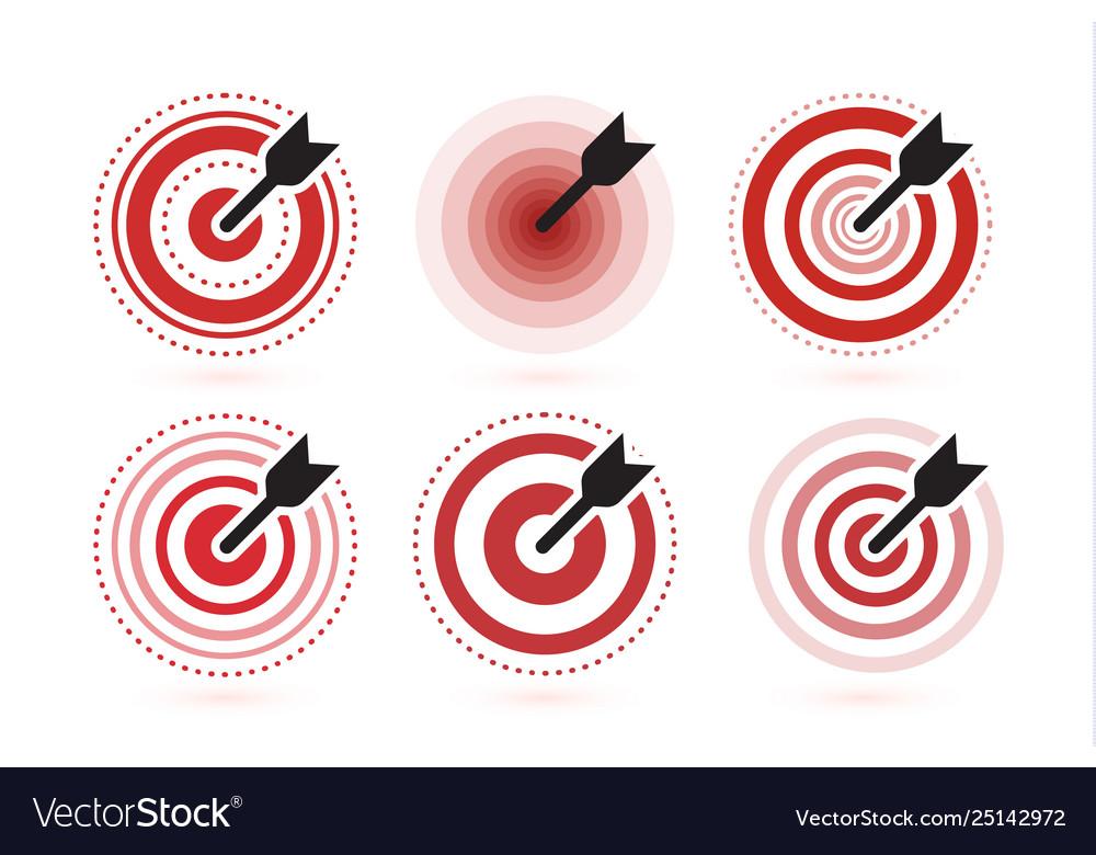Arrow Hit Target Icons Set Flat Winner