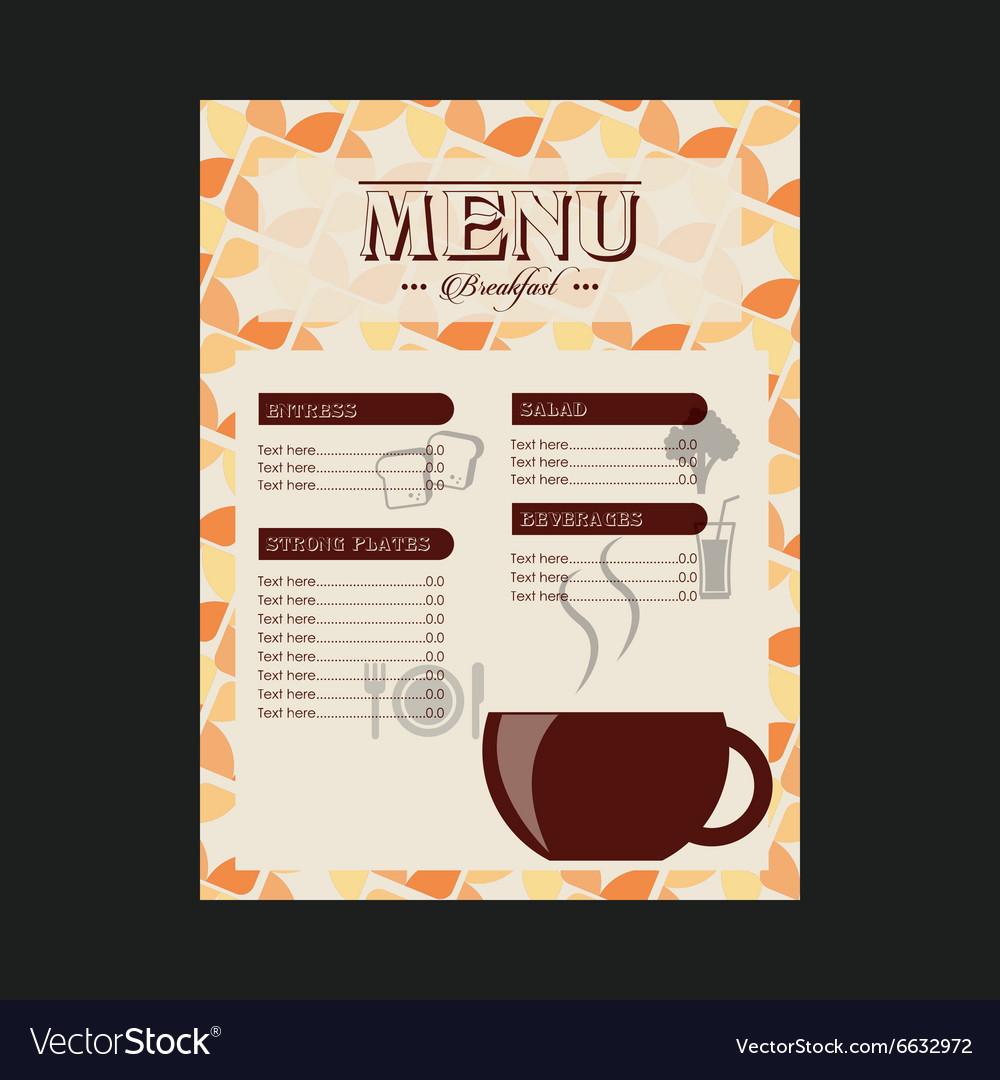 breakfast menu design royalty free vector image