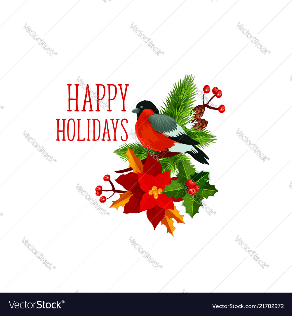 Christmas bullfinch wreath greeting icon