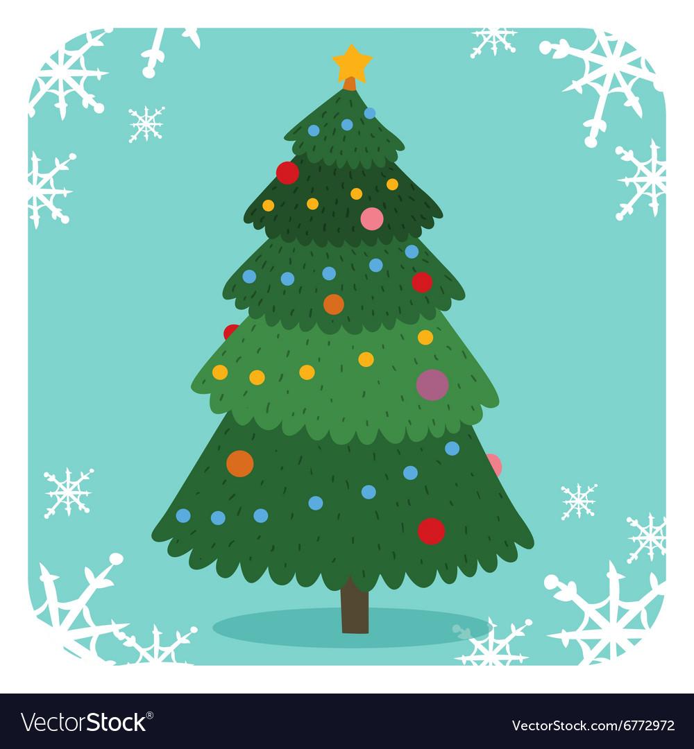 Christmas tree flat design vactor icon greeting