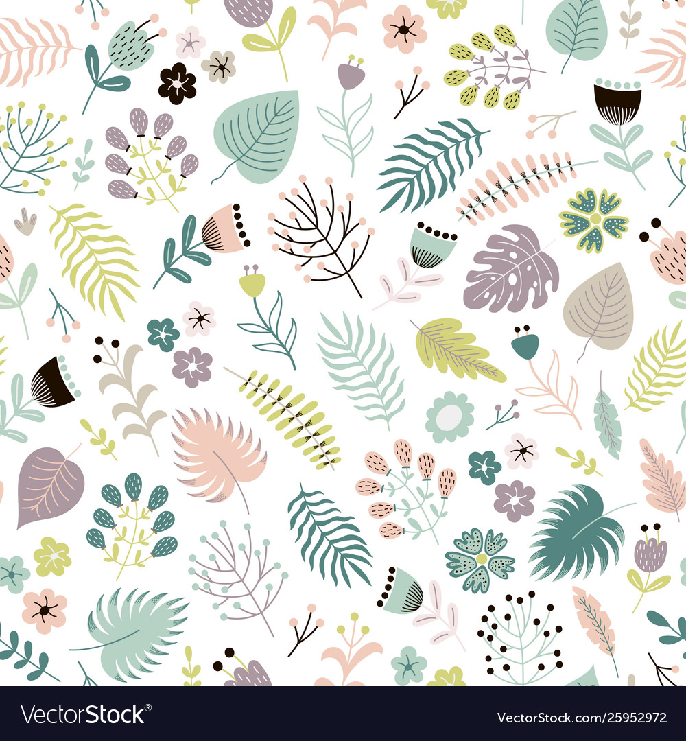 Floral seamless pattern with flowers plants