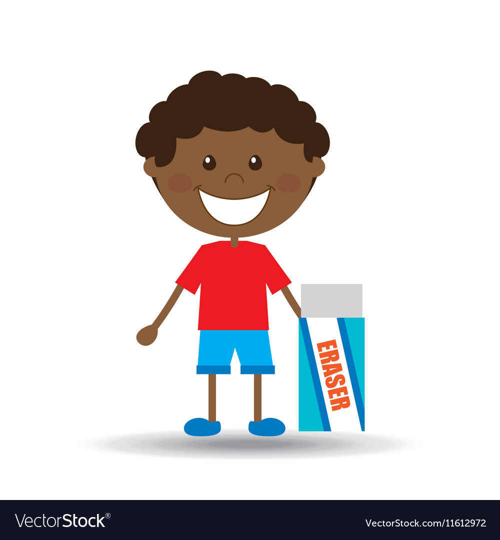 Happy boy student eraser icon graphic