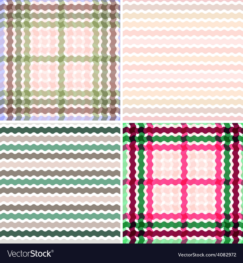 Set Wave tartan gradient background seamless