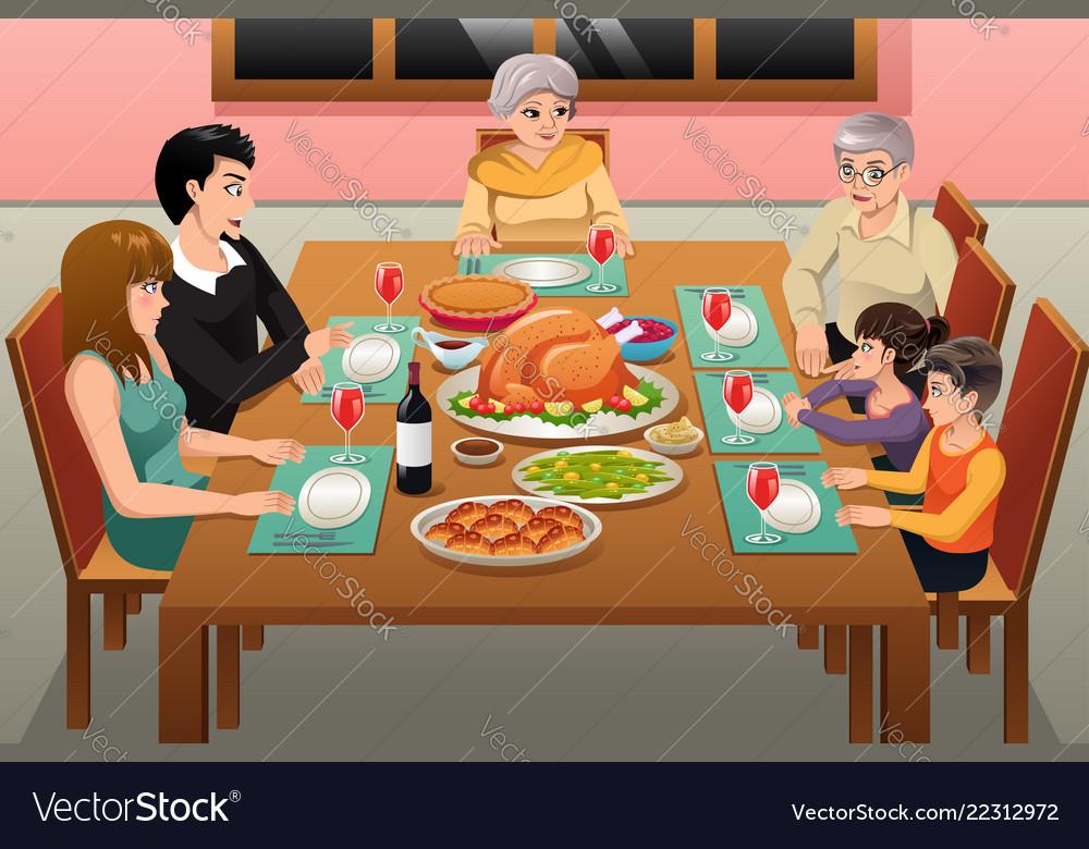 Thanksgiving Family Dinner Royalty Free Vector Image