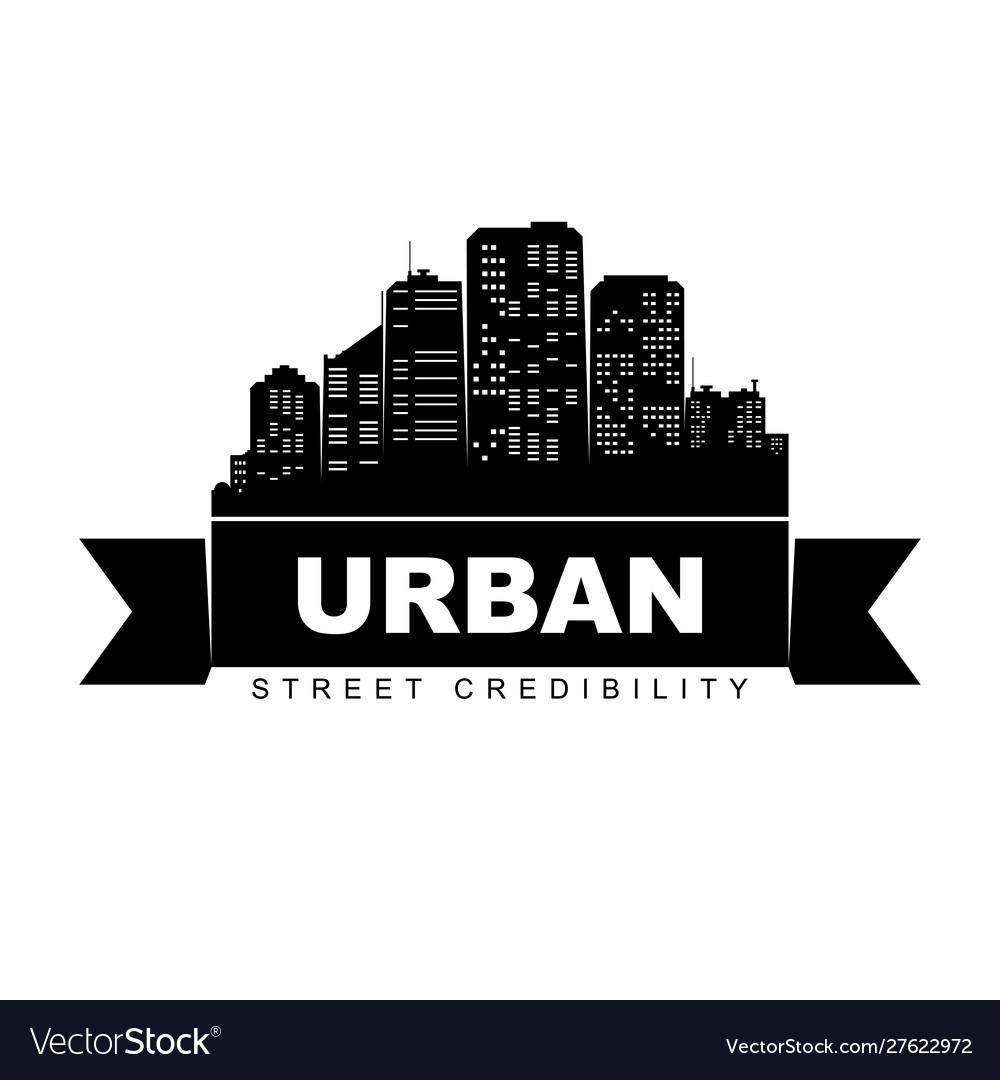 Urban logo template city skyline silhouette