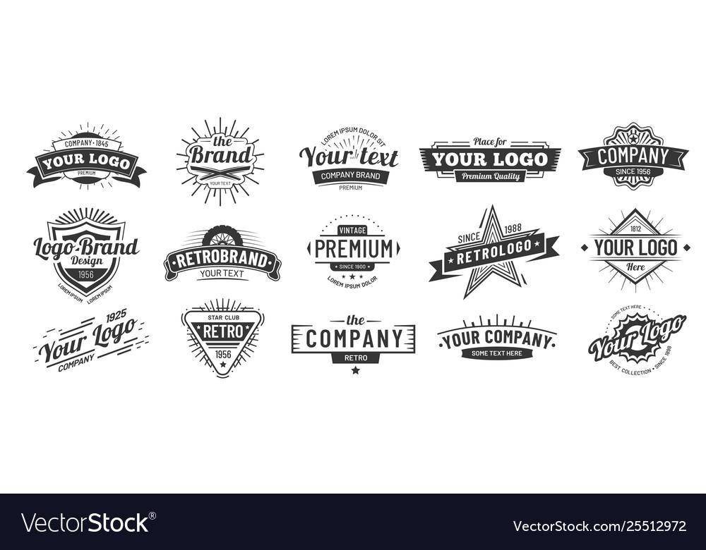 Vintage badge retro brand name logo badges