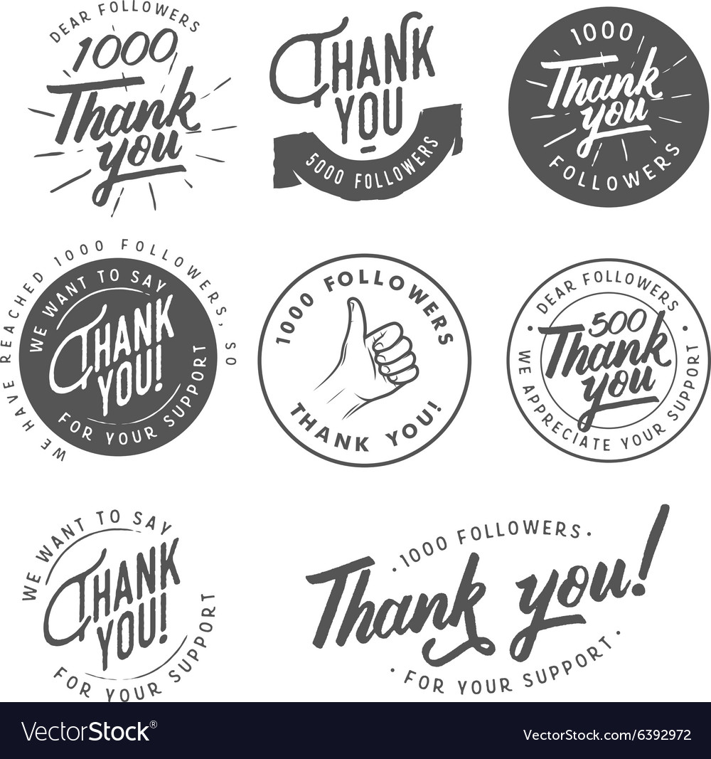 Vintage Thank you badges labels and stickers vector image