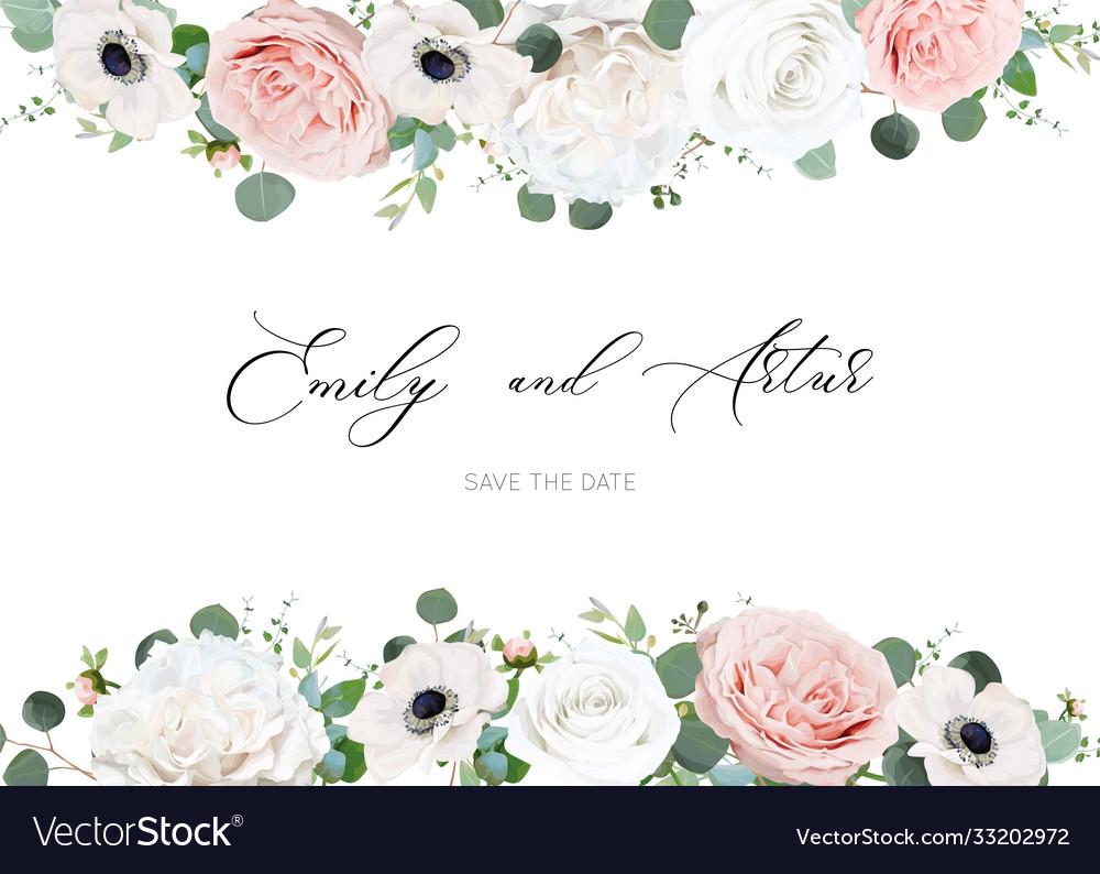 White ivory blush peach wedding invite card floral