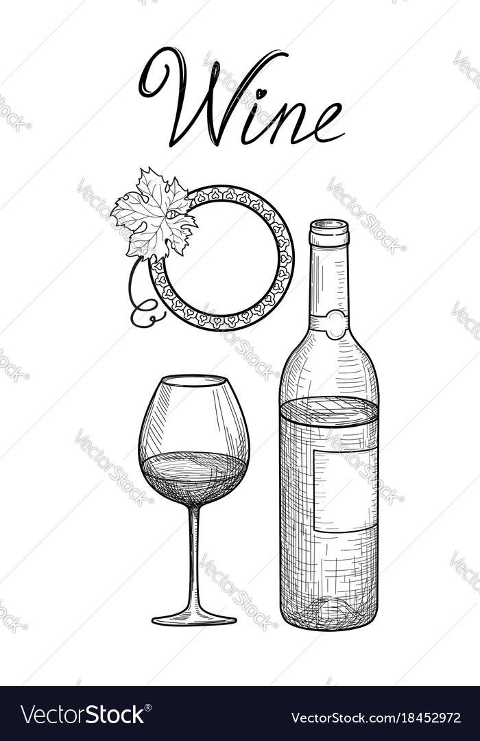Wine set wine glass bottle lettering cafe menu