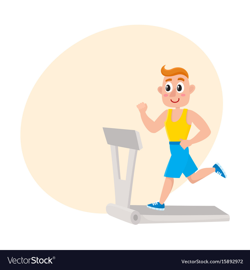 Young man running on treadmill training in gym