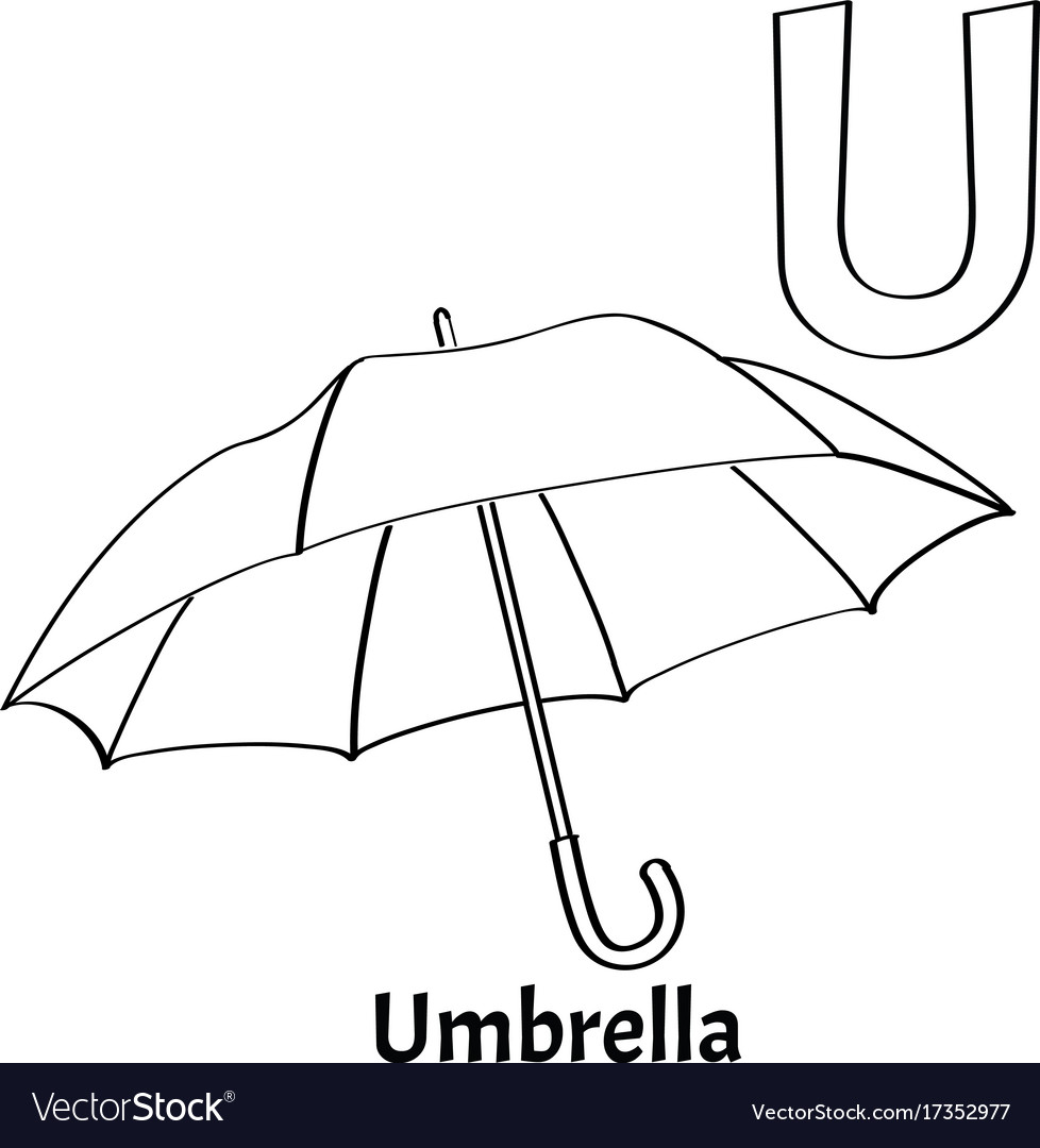 Alphabet letter u coloring page umbrella