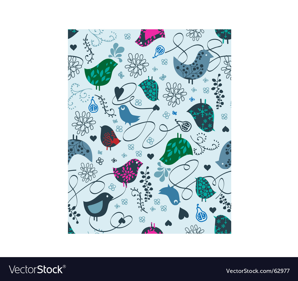 Birds and hearts seamless